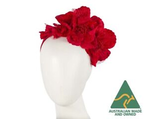 Red flower racing crown fascinator headband by Max Alexander Made in Australia