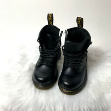 DR. MARTENS Kids Smooth Leather Casual Fashion Ankle Boots Shoes Black Size 9