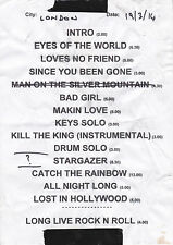 Graham Bonnet Catch The Rainbow London Garage Setlist 19.03.2014