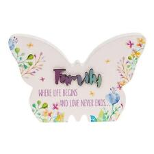 Family Gift - Floral Butterfly Colourful plaque with sentiment 66250 JD
