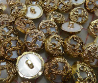 24 Vintage Gold Plastic Shank Buttons filigree design with moonglow center 21mm
