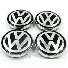 4pcs 60mm Black Silver Wheel Center Caps Emblem VW Volkswagen Golf Passat Bora