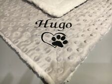 More details for personalised with name and paw dog cat puppy pet comforter mini blanket sherpa