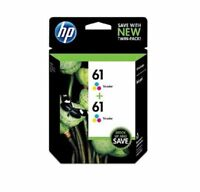 HP 61, Tricolor Original Ink Cartridges (CZ074FN), Pack Of 2 Exp 2020+