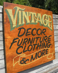 Vintage Style Antique Trade Sign Wood Hand Painted art original