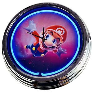 """N-0495 Horloge Murale """" Mario 2 """" Déco Néon Salle à Manger Cuisine Salon Bureau"""