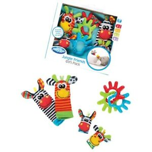 Baby Playgro Jungle Gift Set Sensory Play Teethers Hand Feet Rattle