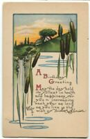 012013 A/S Kathryn Elliott Postcard Birthday Greetings w/ Cattails 1923