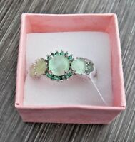 925 Solid Sterling Silver Ring Natural Green Prehnite Gemstone  Size 7 1/2