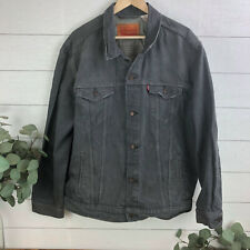 Levi's XXL Gray/Black Jean Trucker Jacket Demim Coat 2XL