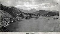 Salerno: Panorama. Grande Veduta. Stampa Antica + Passepartout. 1891