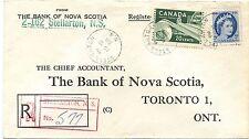 1958 Halifax Barrel cancel, STELLARTON, N.S. registration handstamp Canada cover