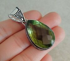 """NATURAL DROP GREEN AMETHYST 925 STERLING SILVER PENDANT 1.75"""" NECKLACE CHARM"""