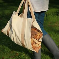 Canvas Log Carrier Basket - Firewood Collector and Wood Holder