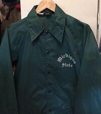 Vintage 60s Champion Running Man Michigan State Green Nylon Windbreaker Jacket.