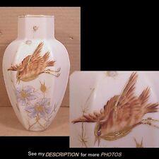 Antique Thomas Webb Satin Art Glass Vase Hand Painted Bird & Flowers
