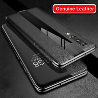For Huawei P20 P30 Mate 20 Pro Smart View Touch Genuine Leather Flip Case Cover