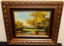 SMALL OIL ON CANVAS RIVER FALL LANDSCAPE PAINTING UNSIGNED