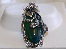 GENUINE 30x14mm! Brazilian Green Aventurine Handmade Pendant, Solid Silver 925!!