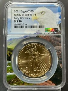 2021 $50 Gold American Eagle Type 1 NGC ER MS 70 (Eagle Core Holder) 150 Known