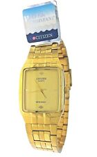New Old Stock Citizen Quartz Rectangular Gold Case & Dial Watch Water Resistant