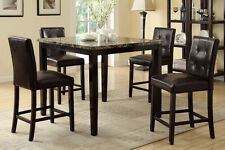 5Pc Dining Set Counter Height Table High Chair Espresso Tuft Buttons Dining Room