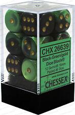 Chessex Gemini Black Green w/ Gold 16mm (Standard) 12 Dice Set CHX26639