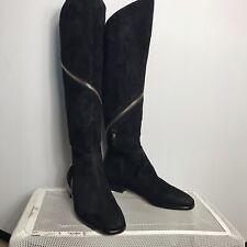 boots women Black Sude Leather Zipper Gold Winter