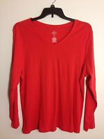 ST JOHN'S BAY Plus Sz 2X V Neck T Shirt 100% Cotton Top Long Sleeve BLOUSE NEW