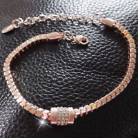 PRO,Women's Rhinestone Rose Gold Plated Crystal Bracelet Bangle Jewelry Fas UKP