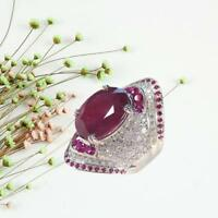 Natural Ruby Gemstone 925 Sterling Fashion Silver Ring Women's Jewelry Gifts