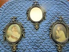 3 Small Vintage Ornate Metal Frame Oval Pictures-Girls & Mirror Italy Homco? Vgc