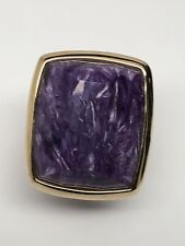 14K Yellow Gold Large Bezel Set Purple Charoite Solitaire Ring Size 9