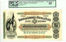 Uruguay ... P-S238r ... 50 Pesos ... 1872 ... Ch*AU-UNC* PCGS 55 (AU-UNC)