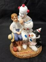 Norman Rockwell Porcelain Figurine: The Runaway Clown, Boy, Dog, Circus