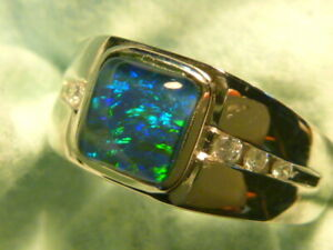 Mens Opal Ring Sterling Silver Natural Opal Triplet 8mm Square item 160478.
