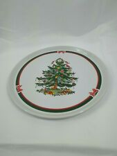 Topco Holiday Cake Plate Stoneware Ribbons & Tree