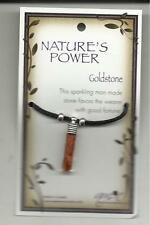 """NATURE'S POWER """"GOLDSTONE"""" PENDANT ON BLACK CORD WITH HEALING PROPERTIES"""