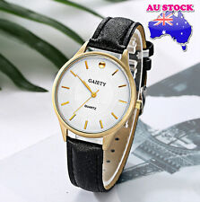 Wholesale Black Leather Gold Plated Steel White Dial Quartz Women Wrist Watch
