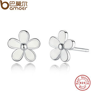 Shine Authentic S925 Sterling Silver Stud Earrings White Flower Fashion Jewelry