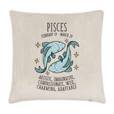 Pisces Horoscope Linen Cushion Cover Pillow - Horoscope Star Sign Zodiac