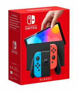 Nintendo Switch OLED Model HEG-001 Handheld Console - 64GB - Neon Red/Blue