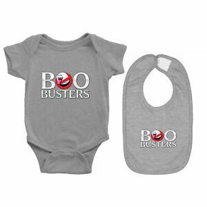 Baby Bodysuit Romper Clothes One Piece & Bib Gift Funny Horror Boobusters Ghost