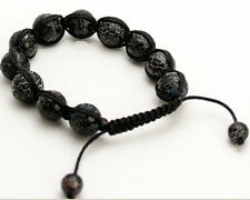 SEMIPRECIOUS FIRE AGATE STONE SMOOTH BALLS BEADED BLACK CORD SHAMBALLA  BRACELET