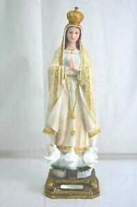 Our Lady Of Fatima & The Miracle Doves 52cm Polyresin Gold Handpainted