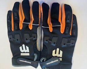 Mongoose L/XL Full Finger Bike Bicycle Padded Gloves Black BMX Mountain New