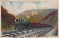Postcard Train Broadway Limited Pennsylvania Railroad System 1925