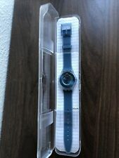 New Swiss Swatch Skin Dive-In Blue Silicone Band Women Watch 35mm