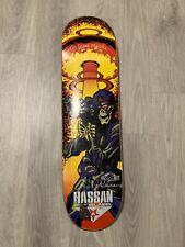 Vtg skateboard deck 1999 Black Label Omar Hassan 1st Pro Black Light Autographed