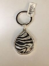 NWT BRIGHTON TRINITY ZEBRA Key Fob Keychain PENDANT w Swarovski Crystals $44